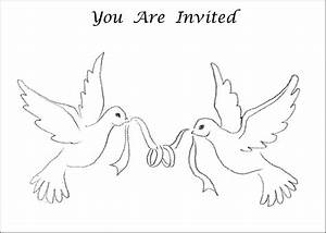 6 best images of printable wedding symbols doves wedding for Wedding invitation templates doves