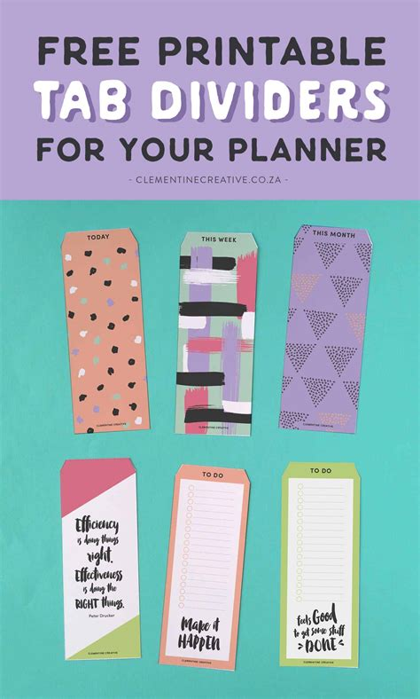 printable top tab dividers  planners diaries
