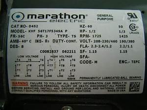 Marathon Electric Motor Motorbrake Hp1  2 1725rpm 230  460v