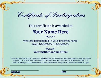 certificate of participation template free certificate templates pageprodigy