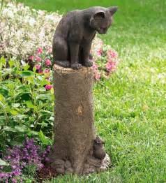 cat lawn ornament bronze cat and mouse sculpture garden plow hearth