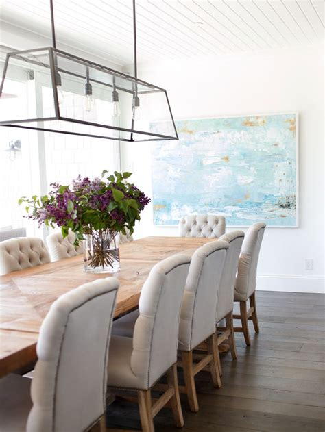 beachy dining room beadboard ceiling linear dining room