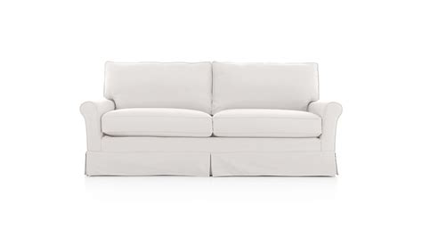 crate and barrel settee harborside slipcovered apartment sofa petry snow crate