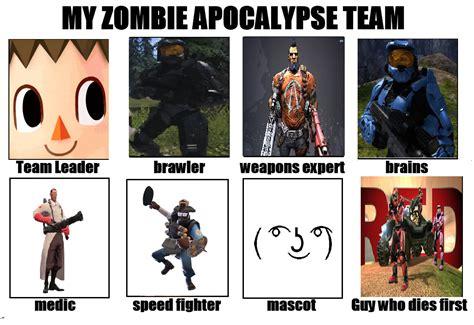 Zombie Apocalypse Team Meme - image 664440 my zombie apocalypse team know your meme