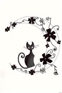Cat and Moon Tribal Tattoo Designs