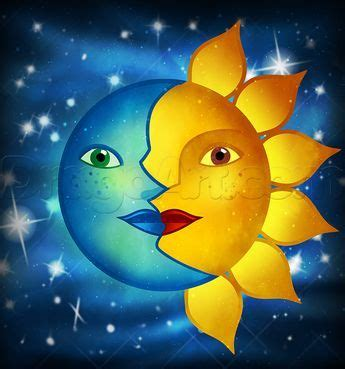 how to draw the sun and moon face | Moon and sun painting ...
