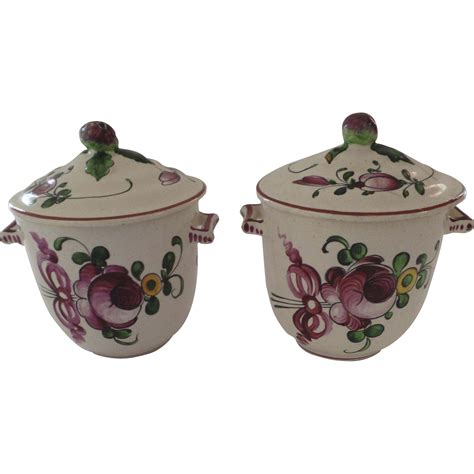 2 x vintage pot de creme faience pots with lids fruit finials from blacktulip on ruby