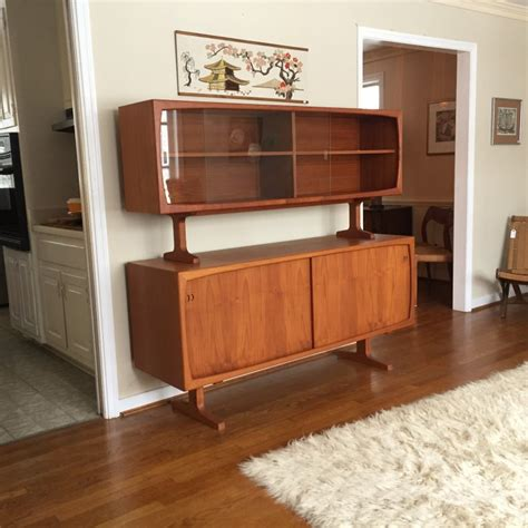Mid Century Modern Teak Credenza by Teak Sideboard With Glass Front Top Cabinet By