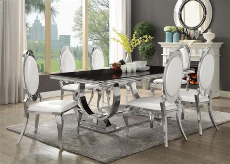 antoine  piece dining set  stainless steel table