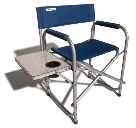 strathwood folding chair with attached table seaport blue