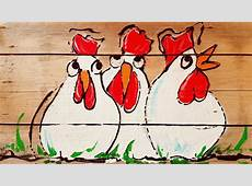 Koddige Kippen Op Hout Schilderen at Workshopperij