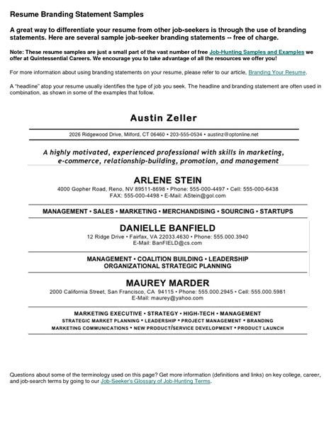 Personal Statement For Resume by Pin By Jo Pepper On Personal Branding Resume