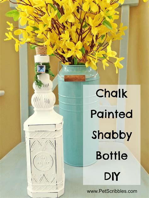 chalk painted shabby bottle diy bigdiyideascom
