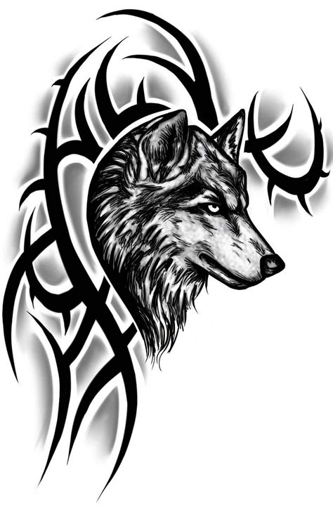 Realistic Wolf Head With Tribal Design Tattoo Sample | Tribal wolf tattoo, Wolf tattoos men