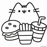 Coloring Pusheen Pages Ready Eat Printable sketch template
