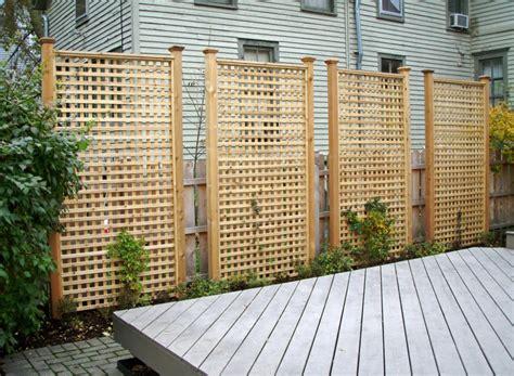 here are rectangular cedar lattice privacy panels