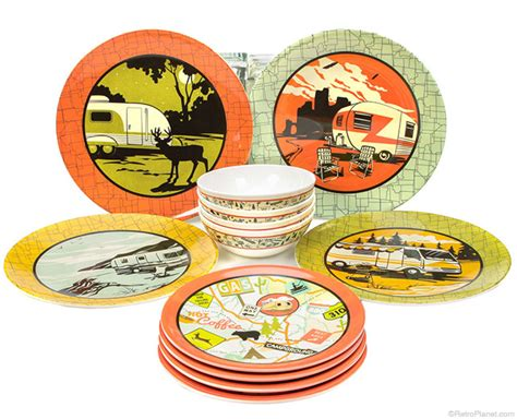 camping dinnerware camp rv plates melamine dinner sets retro sc bowls plate piece casual st luncheon settings includes place tree