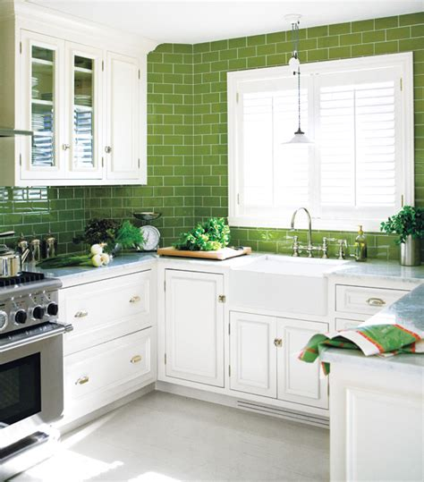 kitchen backsplash green green subway tile kitchen design ideas