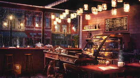 Yanında da gününe güzel başlamanızı sağlayacak bir dilim elmalı tart sizi… Rainy Night Coffee Shop Ambience with Relaxing Jazz Music and Rain Sounds - 8 Hours - YouTube