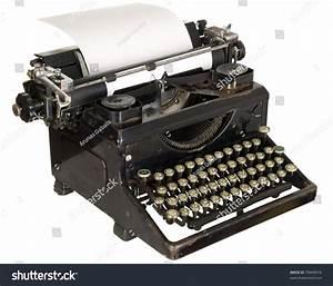 Old Antique White Typewriter Black Keys Stock Photo ...