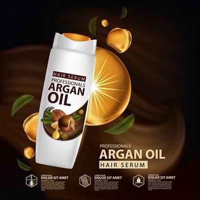 Oil Hair Poster Advertisement Serum Argan Vector