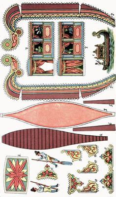 printable viking ship vintage papercraft planos navais