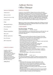 model resume for purchase manager office manager cv sle