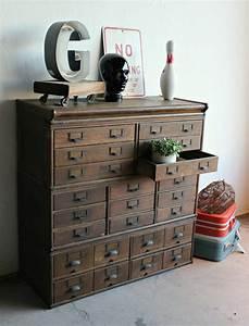 Antique, Wooden, 23, Drawer, Storage, Cabinet