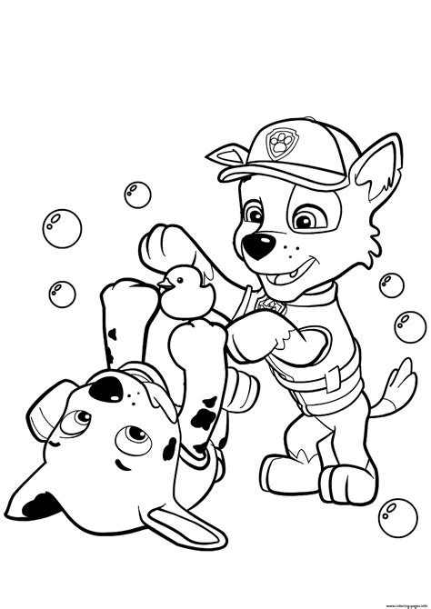 Print paw patrol rocky and marshall coloring pages (With