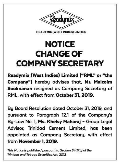 Before the letter will be given to the secretary general ,it will be opened by a member of of his staff and checked if its content is worth of being forwarded to him. Notice to Change of Company Secretary - TCL Group