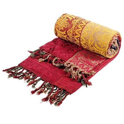 amorus Chenille Jacquard Tassels Throw Blankets for Bed