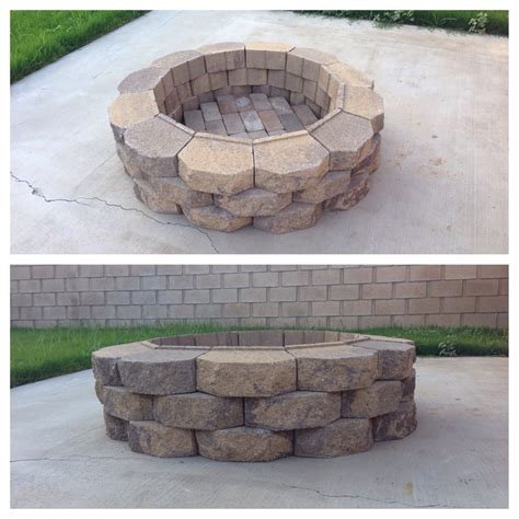 retaining bricks diy fire pit 36 retaining wall bricks home depot layered inside with red bricks from yard