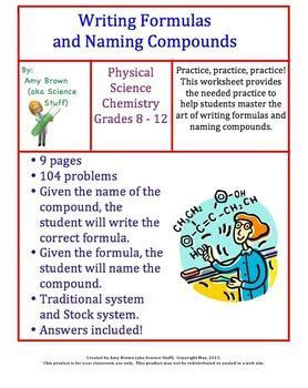 writing formulas and naming compounds homework chemical