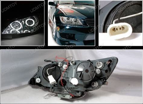 01 05 lexus is300 chrome dual ccfl halo rings projector