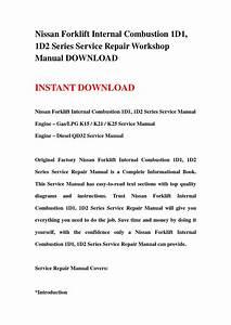 Nissan Forklift Internal Combustion 1d1  1d2 Series