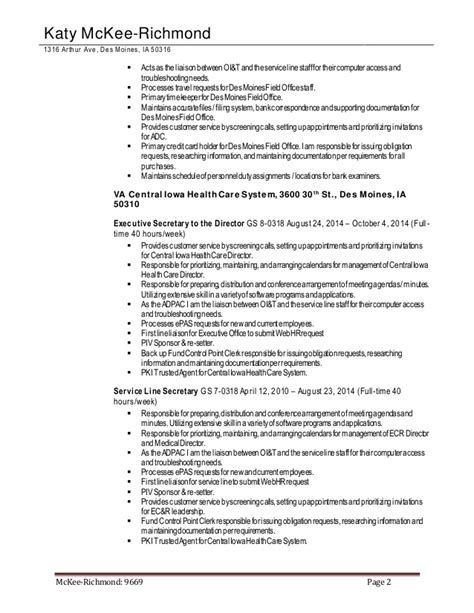Federal Resume Exle 2016 by Federal Resume 2016