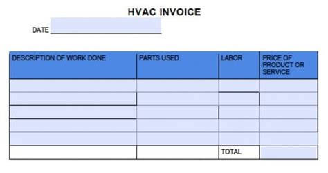 hvac invoice template free hvac invoice template excel pdf word doc