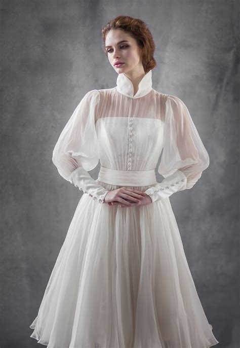 vintage inspired puff sleeve wedding dresses
