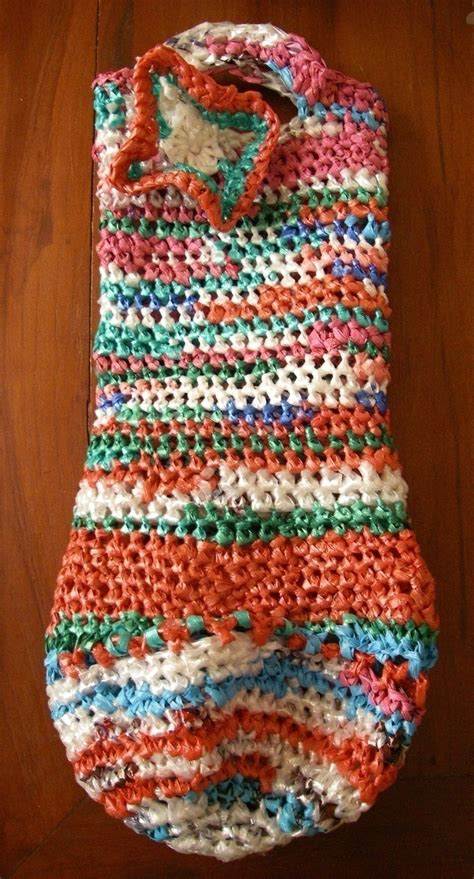 plarn bottle totebag  food cover cozy knitting