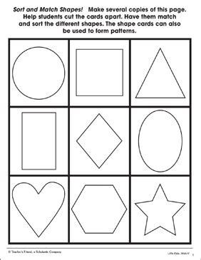 sort  match shapes pattern cards printable skills sheets