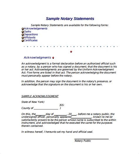 notary document sle template business