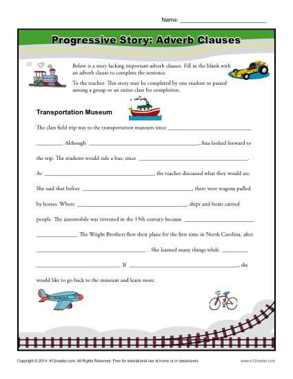 progressive story adverb clauses clause worksheets