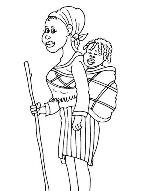Kleurplaat Afrikaanse Vrouw by Theme Preschool Th 232 Me Afrique Maternelle