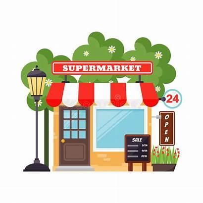 Supermarket Building Facade Cartoon Supermercato Vettoriale Outside