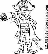 Pirate Cartoon Coloring Boy Roger Jolly Vector Spyglass Clip Drawing Clipart Premium Piracy Ship Vectors Illustration Eps Getdrawings Fotosearch Illustrations sketch template