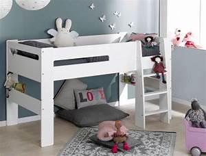 Lit En Hauteur Enfant : lit mi hauteur enfant london blanc 90x190 cm modulable et ~ Preciouscoupons.com Idées de Décoration