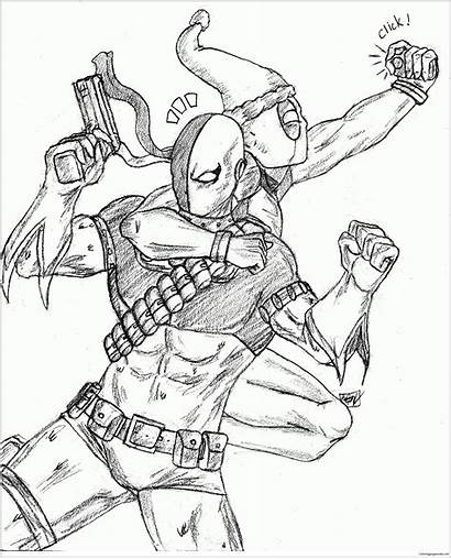 Deathstroke Deadpool Coloring Pages Mas Amrock Drawing