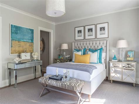 Show House Bedroom Ideas Gray Bedroom With Turquoise