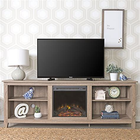 New 70 Inch Wide Fireplace Television Stand In Driftwood