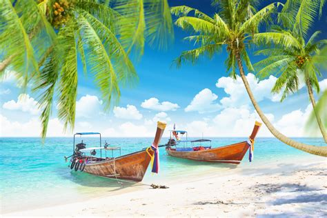 tropical islands with boats nature categories canvas prints wall